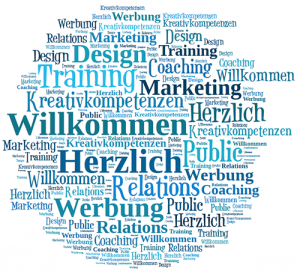 Tagcloud, Wortwolke, Welcome, Public Relations, PR, Public Relations, Werbung, Marketing, Konzeption, Design, Training, Kreativitätskompetenzeng